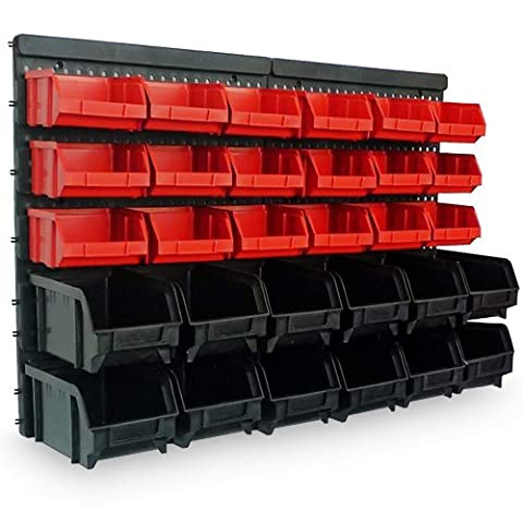 Wall Mount Storage Bin Kit 32 pcs with stackable Boxes - Garage and Warehouse Tools Plastic Storage Rack