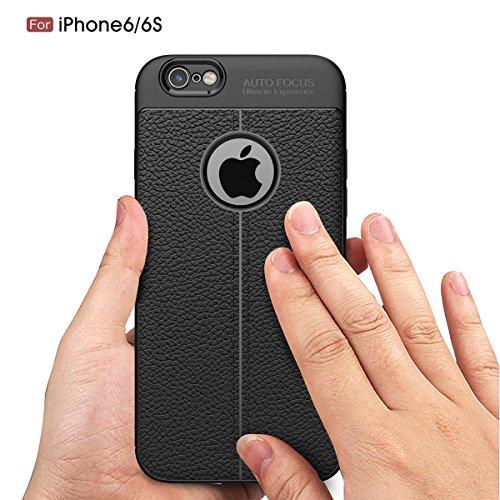 iPhone 6 / iPhone 6s 4.7 inch Coque Ultra Mince Élégant Cuir Motif Flexible Soft TPU Bumper Housse Etui Assorbimento di Urti Resistente ai Graffi Assorbimento-Urto Renforcée Protective Smartphone Bump rouge
