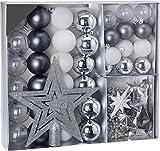 Weihnachtsbaumschmuck Set - 45 teilig in Silbertönen (Silber, Schwarz, Weiß etc.) - 36 Kugeln, Weihnachtsbumspitze, Dekosterne und Kette