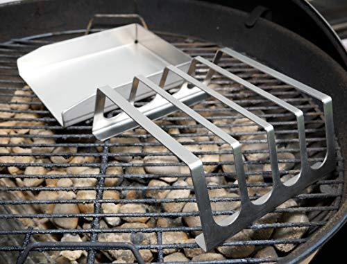 51IpnQDV9dL - tradeNX Grillplatte aus Edelstahl - Massives Plancha & BBQ Zubehör zum Grillen von Fleisch, Fisch, Gemüse & Obst - 20 x 15 cm