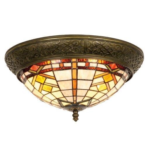 Lumilamp 5LL-5349 Deckenlampe Deckenleuchte Art Deco/Tiffany Stil Natur/Braun Ø 38 * 19 cm 2X E14 max 40w dekoratives buntglas Tiffany Stil handgefertigt glasschirm