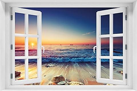 Wallario Acrylglasbild mit Fenster-Illusion: Motiv Sonnenuntergang am Meer mit Wellen am Strand - 60 x 90 cm mit Fensterrahmen in Premium-Qualität: Brillante Farben, freischwebende (Illusion Glas Schiff)