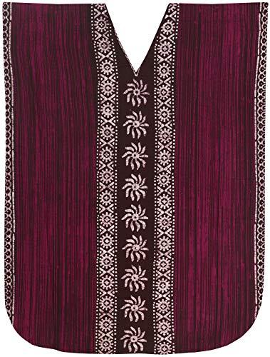 LA LEELA Frauen Damen Baumwolle Kaftan Tunika Batik Kimono freie Größe Lange Maxi Party Kleid für Loungewear Urlaub Nachtwäsche Strand jeden Tag Kleider Braun_Q218 -