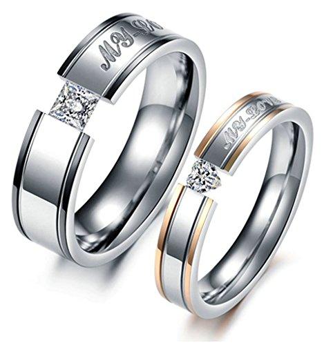 AnaZoz Bigiotteria Romantica Anello Donna Acciaio Inossidabile (Gravé:My Love) Intarsiato Zirconia Cubica Misura Anello 10 Matrimonio - Vintage Diamante Solitario