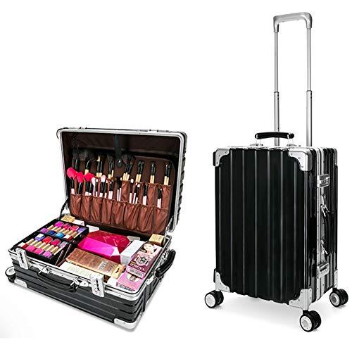 WWCASE Mutifunction Viaggio Treno Valigia Trucco Beauty Case Trolley Case da Viaggio Professionale Cosmetico Conservazione Organizzatore Portatile Bagaglio con 4 ABS 360-degreed Ruote