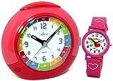 Atlanta Kinderwecker für Mädchen Rot Pink Set mit Armbanduhr - 1678-17 KAU