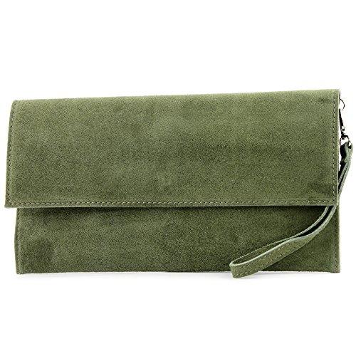Ledertasche Clutch Unterarmtasche Abendtasche Citytasche Wildleder T151 , Präzise Farbe:Olivgrün (Tasche Handtasche)