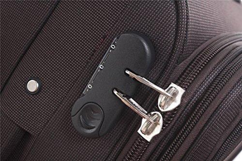 BEIBYE 4 Rollen Reisekoffer 3tlg.Stoffkoffer Handgepäck Kindergepäck Gepäck Koffer Trolley Set-XL-L-M (Coffee, M-Handgepäck-54cm) - 5