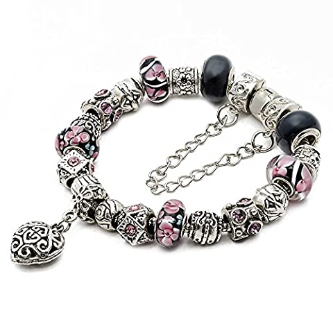 RUBYCA Silver Tone European Charm Bracelet 8.3 Black & Pink Murano Glass Beads DIY Jewelry Kit 21 by RUBYCA