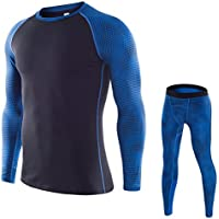 Men's Compression Base Layer Set Long Sleeve T-shirt Long Tights pants Fitness Clothing Sets for Gym or Home