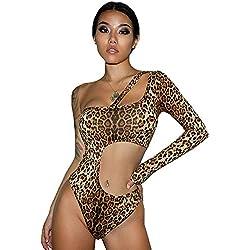 YLOVOW Mujeres Mujeres Hueco Solo Hombro Mono Leopardo Impresión Noche Dianfeng Skinny Manga Larga Leotardo,M
