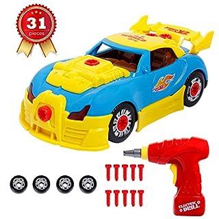 ANTAPRCIS Montage Spielzeug Auto, Konstruktionsspielzeug Rennwagen Set für Kinder, Take Apart Spielzeugauto mit Lichter und Musik, BAU Spielzeug mit Werkzeug Bohrer für Kleinkind Kindergeschenk