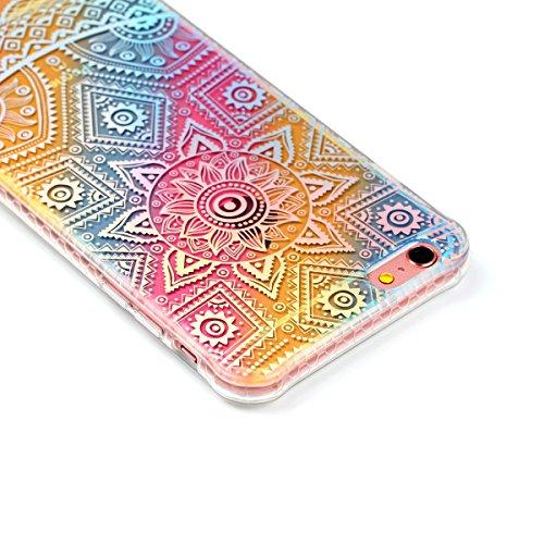 """Protecteur étui pour Apple iPhone 6Plus/6sPlus 5.5""""(NON iPhone 6/6s 4.7""""), CLTPY Mode Beau Arc en Ciel Plating Impression Peint Motif Case en Souple Caoutchouc Ultra Fine Slim Transparente Bumper Shel Mandala"""