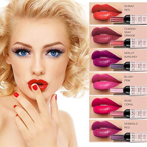 6 satz Weinflasche lipgloss Tint Wasserdicht Lippenstift Farbton, langlebig Kuss beweis, nicht-stick Tasse Lippenstift Glanz