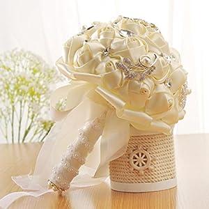 Hunpta – Ramo de novia de flores de seda artificiales con rosas de cristal, perlas para dama de honor, blanco