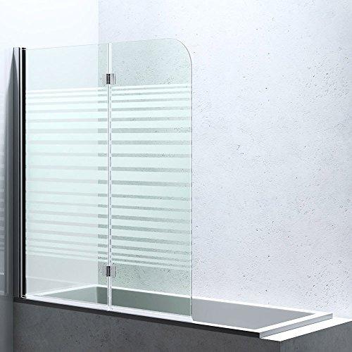 BxH:117x141 cm Duschabtrennung / Duschwand für Badewanne aus Glas Cortona1408S-Links, Wandanschlag links, inkl. Nanobeschichtung, Badewannenfaltwand