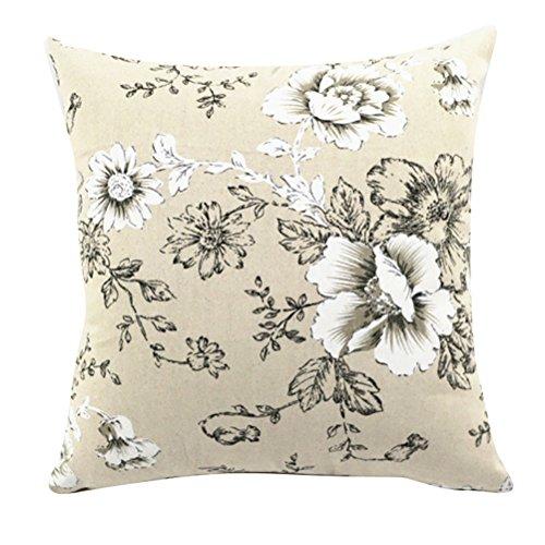 Fodera per cuscino quadrato/rettangolo Wavy Moire ChezMax Lino Throw Pillow Case Sham Slipover Pillowslip Federa per la casa divano letto sedia sedile posteriore, White-Black Flowers, 24*24''WITHOUT FILLER