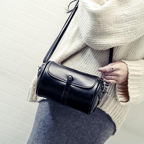 LiZhen seppia barili nuovi pacchetti coreano moda borse donna minimalista stile selvaggio tracolla messenger bag tide, grigio Nero