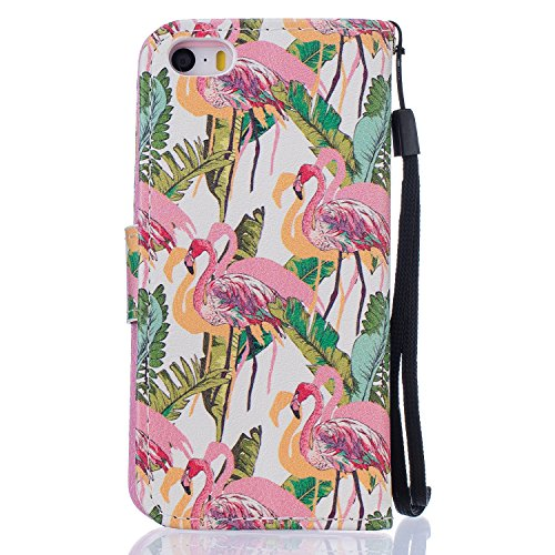 Coque iphone se,Coque iphone 5, iphone 5s Coque, Housse IPHONE SE 5 5S, Cozy Hut ® Motif Dessin animé Housse en Cuir Case à Avec Dragonne rabat Coque de Intérieure Protection Souple Coque Portefeuille Flamingos