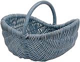 Einkaufskorb/Bügelkorb/Shopper aus echtem Rattan, Henkel- Trage-Korb leicht und stabil (Blau)