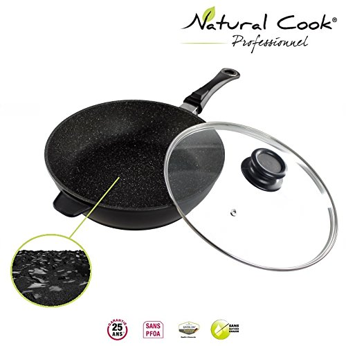 Natural Cook professionnel - Saute Pan In Nonstick Stonelike Granitelike and Ceramic Coating Cookware With Detachable Handles and Glass Cover - Suitable For All Cookers, Even Induction Cookers 28cm