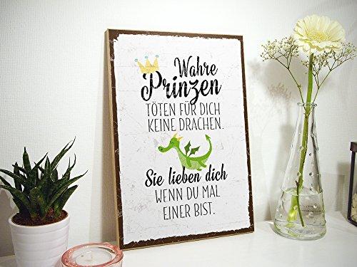 TypeStoff Holzschild mit Spruch – WAHRE Prinzen TÖTEN FÜR Dich Keine Drachen – im Vintage-Look mit Zitat als Geschenk und Dekoration zum Thema Liebe, Sorgen und Beistand