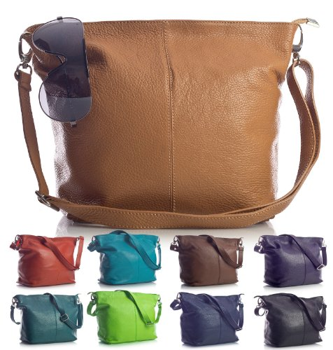 Big Handbag Shop - Borsa a tracolla, da donna, formato medio, in vera pelle italiana Light Grey