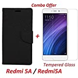 Shopping Monk COMBO OFFER Xiaomi Redmi 5A / Redmi5A Flip Cover Case Wallet Style Cover For Redmi 5A (Black) + Premium Tempered Glass Screen Protector (Transparent)