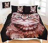 Animal Print Duvet Cover Set Double Size Bed Quilt Designer Bedding Set With Pillowcases , Kitten