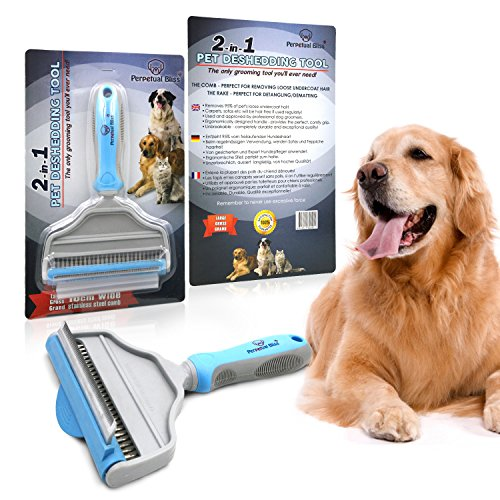 Dog Grooming Brush With FREE EBOOK! 2-in-1 Professional