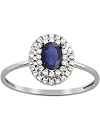 Tous mes bijoux - Bague motif - Or blanc 9 cts - Diamant 0.17 cts - BAFI01009
