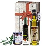 3tlg griechisches kaltgepresstes Olivenöl Geschenk-Set | Bio Essig | extra natives Olivenöl | sortenrein Koroneiki | Tapenade | in Geschenkkarton mit Holzoptik und Schleife | by ARISTOS (Olivenöl, Essig & Tapenade)