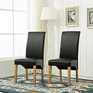 Set of 6 Faux Leather Dining Chairs Roll Top Scroll High Back For Home & Commercial Restaurants [Brown* Black* Red* Cream*](D)