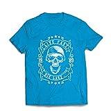Männer T-Shirt Lebe schnell - stirb zuletzt, Fahrradermine, Motorradbekleidung, Liebe zum Fahren, tolles Geschenk für Biker (Small Blau Mehrfarben)