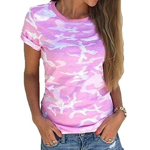 Collo O Shirt Juleya Corta Maglietta T Camouflage Donna Manica w8nPk0OX