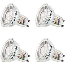 SEBSON® 4x GU10 bombilla 6W LED (Equivale de 50W, Calido Blanca, 500lm, 36º, 230V)