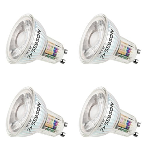 SEBSON LED Lampe GU10 warmweiß 6W, ersetzt 50W Halogen, 500 Lumen, LED COB Spot 36°, 230V, 4er Pack