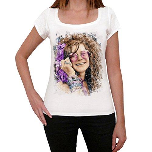 Janis Joplin Color, La Camiseta de Las Mujeres, Manga Corta, Cuello Redondo, Blanco