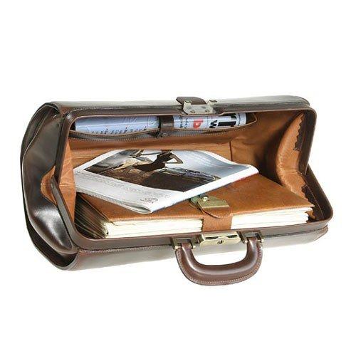 Doktortasche / Hebammenkoffer / Arbeitstasche / Dom-Bag aus Sattelleder v. Shalimar - Gr L Black