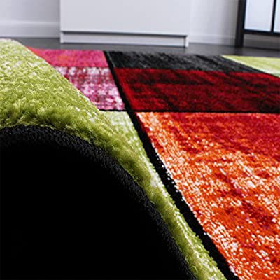 Kids' Rug - Squared Design - Multicoloured - Mottled Red Pink Green Blue - cheap UK rug shop.