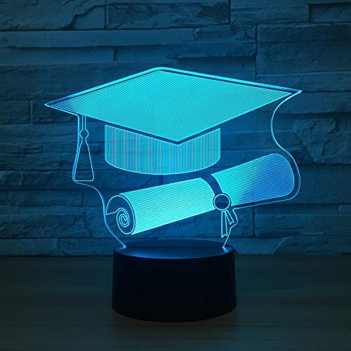 Neuheit bunte Doktor Hut 3D Nachtlicht Illusion Lampe LED Schreibtischlampe Beleuchtung Home Decor für Das Perfekte Geschenk,Touch switch