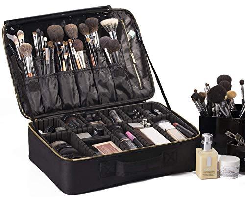 Rownyeon Professionelle Kosmetiktasche, Makeup Train Case Reise Make-up Tasche 16 '' Portable Makeup Artist Organizer Make-up Pinsel Tasche für Kulturbeutel Schmuck Digital Zubehör groß