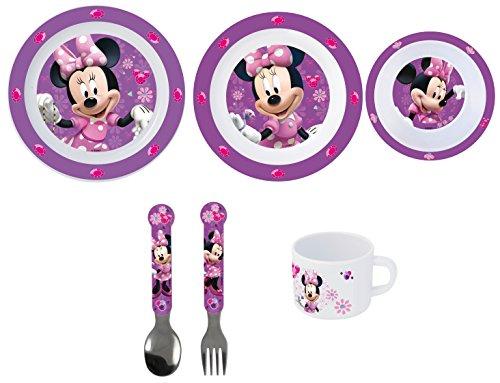 Minnie Mouse 6 teiliges Melamin Küchenset für Kinder, Teller, Müslischale, Suppenteller, Besteckset und Kinderbecher als preiswertes Set