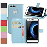 MaxKu Huawei Honor 8 Pro Hülle, Premium PU Leder Mappen Kasten für Huawei Honor 8 Pro Smartphone, Blau
