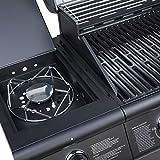 TAINO Pro Grillwagen BBQ Edelstahl-Brenner + Seitenkocher Gas-Grill TÜV schwarz Zubehör (6+1 Gasgrill + Zubehör) - 4