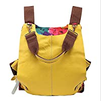 Backpack Canvas with Cowhide Backpack Printing Handbags National Color Matching Bag Multifunction Backpack Yellow