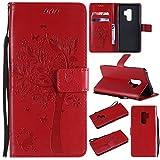 Shinyzone Samsung Galaxy S9 Flip Brieftasche Leder Hülle,Niedlich Karikatur Geprägte Katze & Baum Muster Kartenfach Magnetverschluss mit Ständer Handyhüllen für Samsung Galaxy S9,Rot