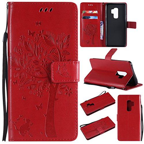 Preisvergleich Produktbild Galaxy S9 Plus Hülle, Samsung Galaxy S9 Plus Wallet Flip Hülle, Artfeel Stilvoll Geprägtes Muster Tasche, [Magnetverschluss] [Standfunktion] Leder Brieftasche Stoßfest Schutzhülle mit [Handschlaufe] Kredit Kartenfächer und Klapptasche Handyhülle für Samsung Galaxy S9 Plus-Rot