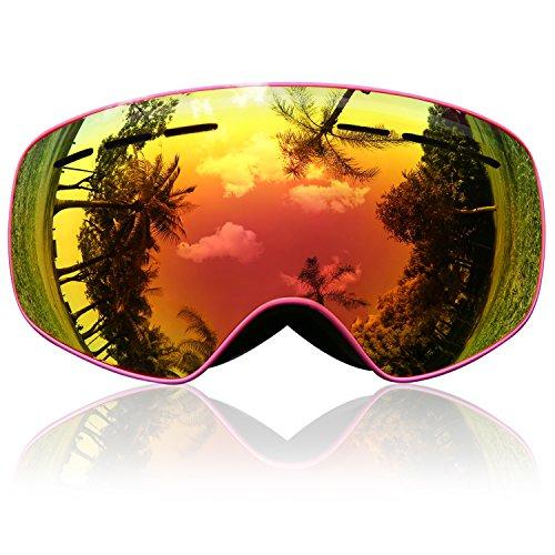 Skibrille Kinder, eDriveTech Ski Snowboard Brille Brillenträger Schneebrille Snowboardbrille Verspiegelt für Jungen Mädchen Junior Alter 3 4 5 6 7 8 9 10 11 12 13 14 15 Jahre OTG UV Schutz Anti Fog (Rosa)