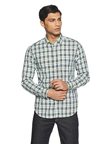 Amazon Brand- Symbol Men's Checkered Regular Fit Casual Shirt (SS18-SMCS-110_Blue_Large)